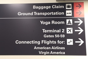 Follow Arrow to Yoga Room at Airport