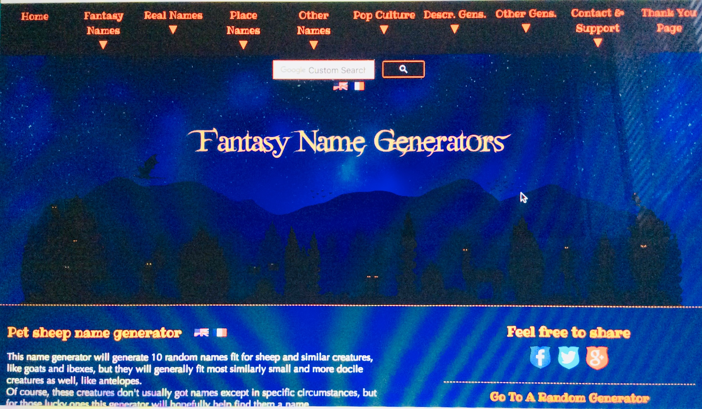 "Writing – Choosing a character's name, go to the ""Fantasy"